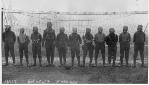 World_War_I,_British_soccer_team_with_gas_masks,_1916
